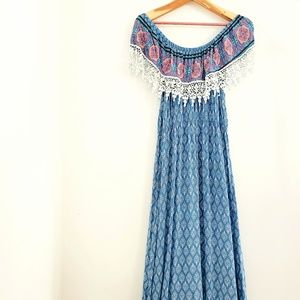 Freeway Bohemian Blue Maxi Dress with Crochet Trim